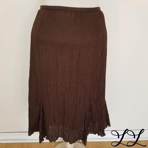 Spanner Skirt Brown Mid Calf Fit Flare Crinkle